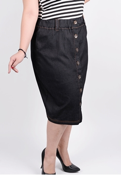 Picture of Front Button opening light denim skirt