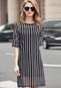 Picture of Black Vertical Stripe 2pcs Dress