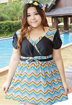 Picture of Wave Stripe Short Sleeve Swimwear
