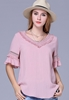 Picture of V-neck Lotus Leaf Sleeve Top
