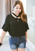 Picture of 1/2 Sleeve Pendant Collar Chiffon Top