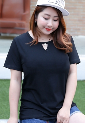 Picture of Plus Size Sexy Hollow Neck Tee
