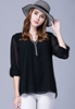 Picture of Plus Size V neck foldable Sleeve Chiffon Top