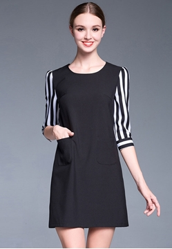 Picture of Stripe Sleeve A-Shaped Dress with Pocket