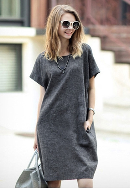 Picture of Grey Loose Style Dress With Pockets