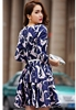 Picture of Cranes Print V Neck Dress