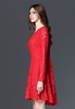 Picture of Plus size red lace party dress
