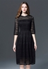 Picture of 3/4 sleeve flare lace dress