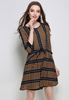 Picture of Waist String Strip 3/4 Sleeve Dress