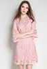 Picture of Horn Sleeve Plus Size Lace Dress