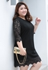 Picture of Plus Size ¾ Sleeve Soft Lace Dress