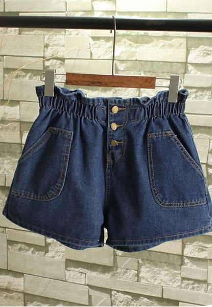 Picture of Big Size Elastic Waist Denim Shorts