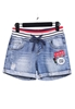 Picture of Plus Size Stripe Elastic Waist Denim Shorts