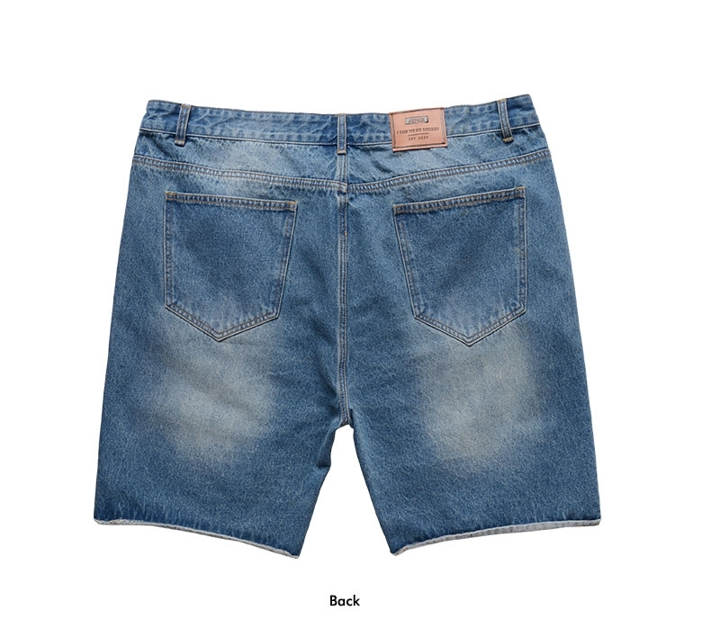 Picture of Slight Ripped Denim Plus Size Mens Shorts