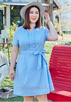 Picture of Lace Shoulder Slim Waist Dress With Belt