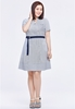 Picture of Slim Waist Plus Size Strip Dress With Belt