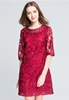 Picture of 1/2 Sleeve Maroon Party Dress