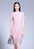 Picture of Eyelash Short Sleeve Pink Dress