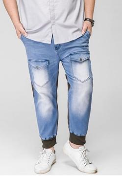 Picture of Hit Color Mens Plus Size Jogger Jeans