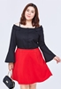 Picture of Strap Off Shoulder Lotus Leaf Sleeve Plus Size Shirt
