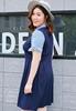 Picture of Ribbon Sleeve Fake 2pcs Slim Waist Plus Size Dress