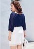 Picture of 3/4 Sleeve 2pcs Plus Size Chiffon Blouse