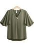 Picture of V Neck Fly Sleeve Blouse