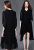 Picture of V Neck 3/4 Sleeve Plus Size Chiffon Dress