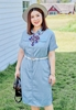 Picture of Plus Size Denim Short Sleeve With Ribbon&Belt