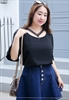 Picture of V lace Collar Chiffon Top
