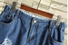 Picture of Ripped Elastic Waist Denim Shorts