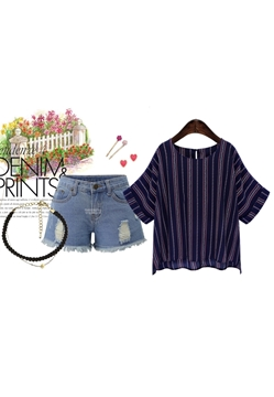 Picture of Striped Prints Chiffon Top