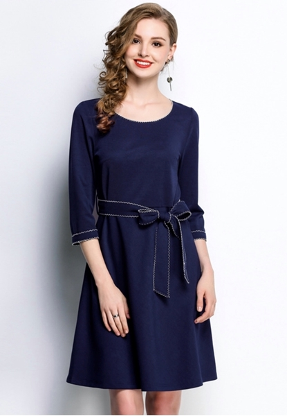 Picture of Wave Lined Border 3/4 Sleeve Dress