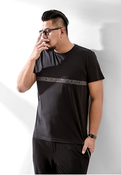 Picture of Front Grey Line Mens Plus Size T Shirt