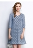 Picture of 3/4 Sleeve Blue Lace Dress