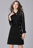 Picture of Lace Sleeve Front Button OL Dress