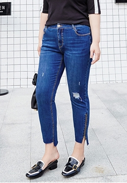 Picture of Side Zip Irregular Bottom Skinny Jeans