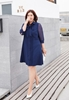 Picture of Lapel with Ribbon Plus Size Shirt Dress