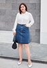 Picture of Stretchable Denim Big Size A Shape Skirt
