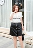 Picture of Irregular Bottom Plus Size PU Skirt