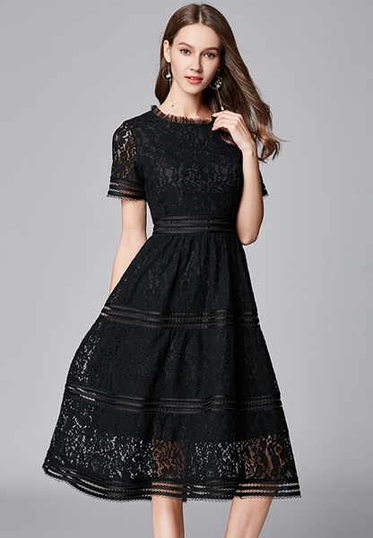 Picture of Slim Waist Short Sleeve A Line Party Dress