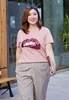 Picture of Round Neck Plus Size Mouth Print Tee