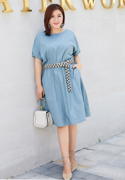 24ebc7617634 Slim Waist Short Big Size Sleeve Dress With Belt. Plus Size Clothes ...