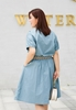 Picture of Slim Waist Short Big Size Sleeve Dress With Belt