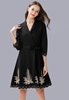Picture of Embroidery Bottom 3/4 Sleeve Big Size Dress
