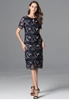 Picture of Embroidery Floral Dark Blue Plus Size Party Dress