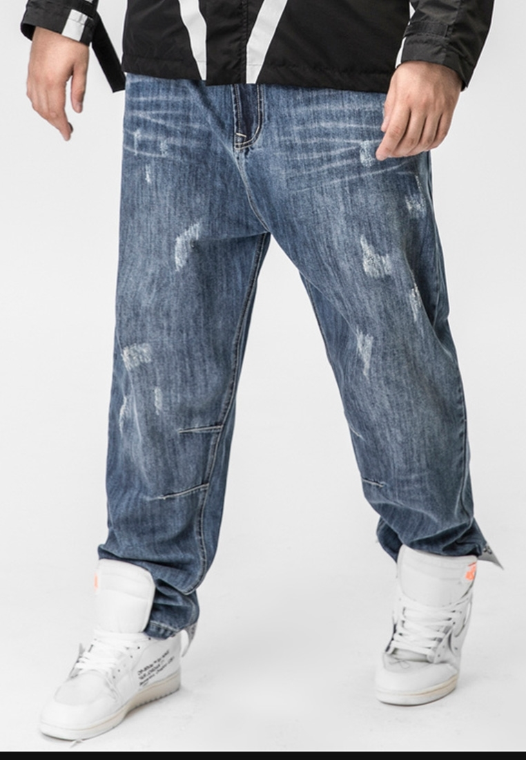 Picture of Ripped Straight Cut Plus Size Men's Pants