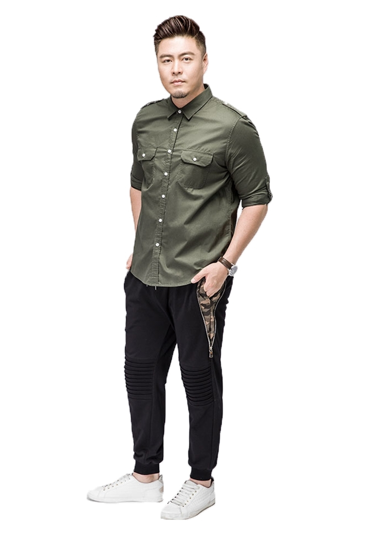 Picture of Plus Size Mens Long Sleeve Shirt With Front Pockets