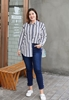 Picture of Plus Size Stripe Long Sleeve Women Shirt