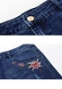 Picture of Embroidery Flower Plus Size Ladies Denim Shorts